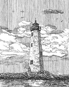 Old And New Drawings Prints - New Point Comfort Lighthouse Print by Stephany Elsworth