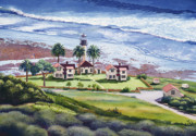 Palm Trees Paintings - New Point Loma Lighthouse by Mary Helmreich