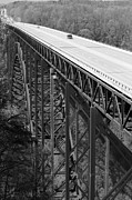 Single Span Posters - New River Gorge Bridge BW Poster by Teresa Mucha
