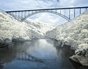 Park Scene Digital Art Prints - New River Gorge Bridge in Infrared Print by Mary Almond