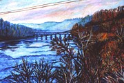 Cities Pastels Prints - New River Trestle in Fall Print by Kendall Kessler