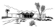 Winter Photos Drawings Prints - New Riviera Gardens-Steel House Print by Robert Cullison