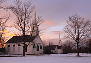 England Town Framed Prints - New Salem Town Common Winter Sunset Framed Print by John Burk