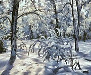 Rural Snow Scenes Posters - New snow Poster by Dragica  Micki Fortuna