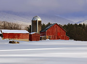Red Barn. New England Digital Art Prints - New snow  Print by Jane Ogilvie