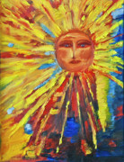 Sun Rays Painting Framed Prints - New Sunface Framed Print by Debbie Weibler