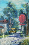 Stop Sign Pastels - New Waverly Morning by Tim  Swagerle