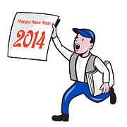 New Year Metal Prints - New Year 2014 Newspaper Boy Showing Sign Cartoon Metal Print by Aloysius Patrimonio