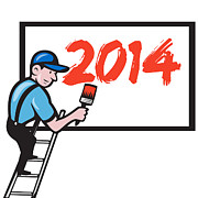 2014 Prints - New Year 2014 Painter Painting Billboard Print by Aloysius Patrimonio