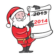 Santa Claus Posters - New Year 2014 Santa Claus Scroll Sign Poster by Aloysius Patrimonio