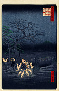Hiroshige Prints - New Years Eve Foxfires at the Changing Tree Print by Nomad Art And  Design