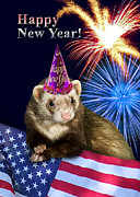 Wildlife Celebration Digital Art - New Years Ferret by Jeanette K