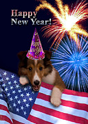 Wildlife Celebration Digital Art - New Years Sheltie by Jeanette K