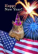 Wildlife Celebration Digital Art - New Years Squirrel by Jeanette K