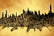 Rusty Drawings - New York 78 Watercolor by Peter Art Prints Posters Gallery