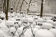 Bryant Park Posters - New York after snow Poster by Louis Scotti