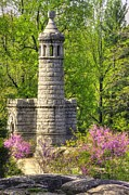 Yankee Division Art - New York at Gettysburg - Monument to 12th / 44th NY Infantry Regiments-2A Little Round Top Spring by Michael Mazaika
