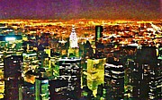 Halifax Artist John Malone Posters - New York at Night From the Empire State Building Poster by John Malone of Halifax Nova Scotia Canada