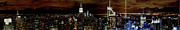 Midtown Posters - New York at night panorama Poster by Gary Eason