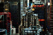New York At Night - Skyscrapers And Office Windows Print by Miriam Danar