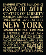 Bryant Digital Art Framed Prints - New York Attractions Framed Print by Jaime Friedman