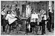 New York: Barbershop, 1882 Print by Granger