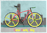 Fixed Gear Posters - New York Bike Poster by Andy Scullion