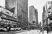 Live Art Framed Prints - New York Black and White 11 Framed Print by Yury Malkov