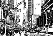 New York Digital Art Metal Prints - New York Black and White 13 Metal Print by Yury Malkov