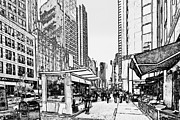 Live Art Framed Prints - New York Black and White 14 Framed Print by Yury Malkov
