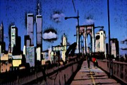 Brooklyn Bridge Drawings - New York Blue by Peter Art Prints Posters Gallery