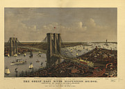 Vintage Map Painting Framed Prints - New York Bridge Framed Print by Vintage Images