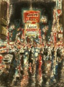 Broadway Drawings Posters - New York Broadway Poster by Peter Art Prints Posters Gallery