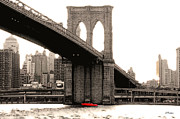 Brooklyn Bridge Posters - New York Brooklyn Bridge Poster by Linda  Parker