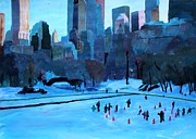 Hockey Print Paintings - New York Central Park - Ice and Winter in Manhattan by M Bleichner