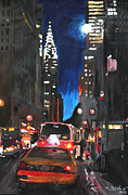 Nyc Paintings - New York - Chrysler Building Street Scene by M Bleichner