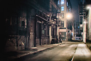 Nyc Fire Escapes Framed Prints - New York City Alley at Night Framed Print by Vivienne Gucwa