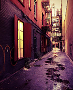 Nyc Fire Escapes Framed Prints - New York City Alley Framed Print by Vivienne Gucwa