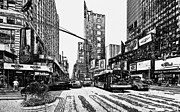 New York Digital Art Metal Prints - New York City Black and White 1 Metal Print by Yury Malkov