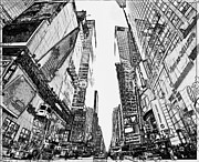 New York Digital Art Metal Prints - New York City Black and White 2 Metal Print by Yury Malkov