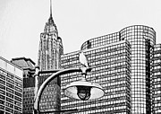 Live Art Framed Prints - New York City Black and White 3 Framed Print by Yury Malkov