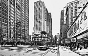 New York Digital Art Metal Prints - New York City Black and White 4 Metal Print by Yury Malkov