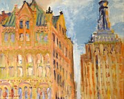 Bryant Painting Framed Prints - New York City Buildings 2 Framed Print by Edward Ching