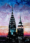 Usa Paintings - New York City Chrysler Empire State Building II by M Bleichner