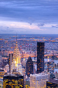 Skylines Metal Prints - New York City Evening Metal Print by Mark E Tisdale