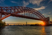 Landscapes Metal Prints - New York City Hell Gate Bridges Sunset Metal Print by Clarence Holmes