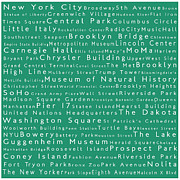 Famous Streets Posters - New York City in Words Algae Poster by Sabine Jacobs