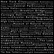 Famous Streets Prints - New York City in Words Black Print by Sabine Jacobs
