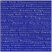 Famous Streets Posters - New York City in Words Blue Poster by Sabine Jacobs