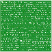 City Streets Posters - New York City in Words Green Poster by Sabine Jacobs